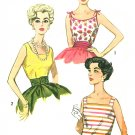 Vintage Tops Sewing Pattern 12 1950s Fitted Tie Shoulder Tank Boxy Square Neck Blouse 3021