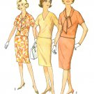 Two Piece Dress Sewing Pattern 10 Vintage 60s Easy Wiggle Skirt Top Neck Tie Slim 4881