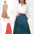 Flared Skirt Sewing Pattern 12 14 16  Easy Long Button Front Wrap Vintage 80s 7097