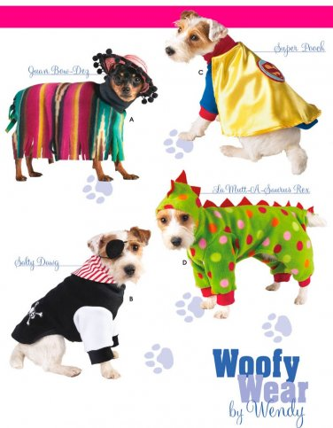 Dog Clothes Sewing Pattern Costume Super Hero Mexican Poncho Pirate Dinosaur Halloween S-L 3667
