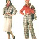 Vintage Vogue Sewing Pattern Pant Suit Skirt Jacket Blouse 14 16 18 Plus Easy Elastic Waist 0995