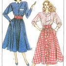 Button Front Dress Sewing Pattern 6/8 Vintage Flared Skirt Long Sleeve Lucy Below Knee 9014