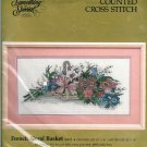 French Floral Basket Counted Cross Stitch Kit Something Special Aida 20 X 10 Vintage Flowers