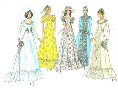 Vintage Wedding Dress Sewing Pattern Sz 16 Sweetheart Queen Anne Gown Bridesmaid 70s Victorian 6888