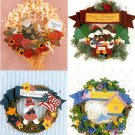 Holiday Seasons Wreath Sewing Pattern No Sew Fall Halloween Christmas 4th Easter Spring 4225