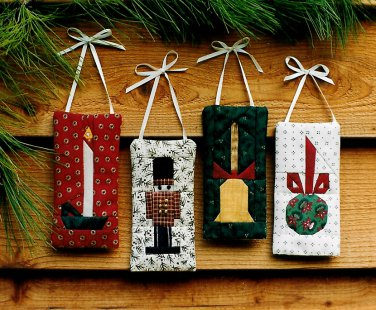 Quilted Christmas Ornaments Sewing Pattern Candle Bell Ball