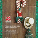 Elf Candy Cane Christmas Tree Felt Craft Kit Door Knob Hanger Sequins Holiday Decor Vintage
