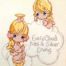 Precious Moments Needlecraft Kit Every Cloud Has Silver Lining Girls Angels 12 x 16 Paragon Vintage