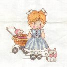Girl With Doll Carriage Counted Cross Stitch Instructions Project Mat Pals Vintage