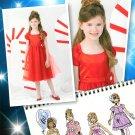 Girls Formal Fancy Dress Sewing Pattern 4-8 Full Skirt Overlay Short Sleeve Straps 0223
