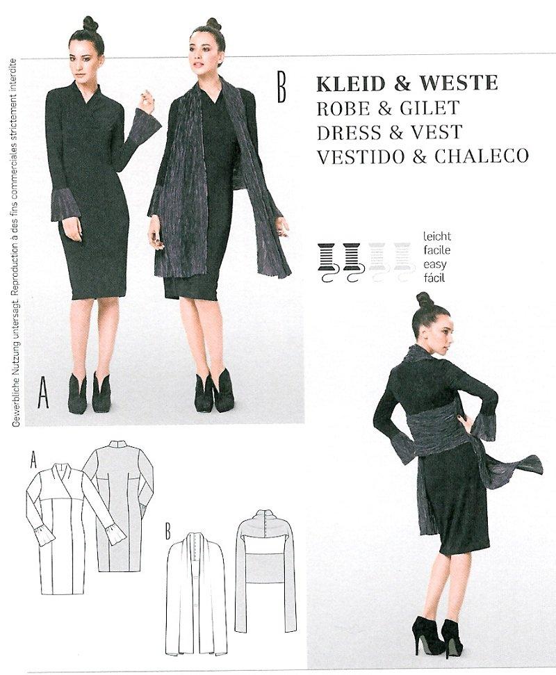 Mod Kimono Dress Wrap Sewing Pattern Vest Scarf Flounce Sleeve 8-20 ...