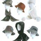 Women's Hats Sewing Pattern Bucket Fedora Floppy Headwrap Scarf Winter Rain 4366