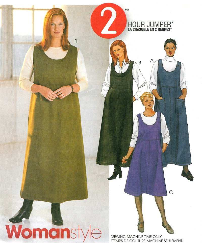 Easy Jumper Dress Sewing Pattern Plus 18w 24w Scoop Neck