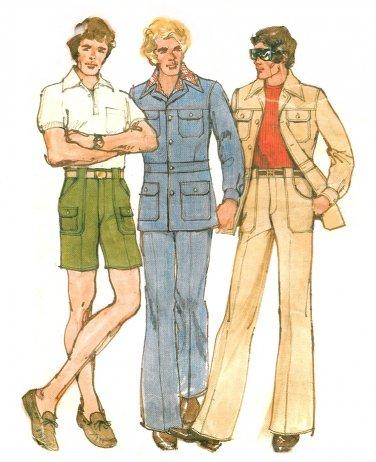Mens 70s Leisure Suit Sewing Pattern Sz 40 Mod Jacket Pants Cargo ...