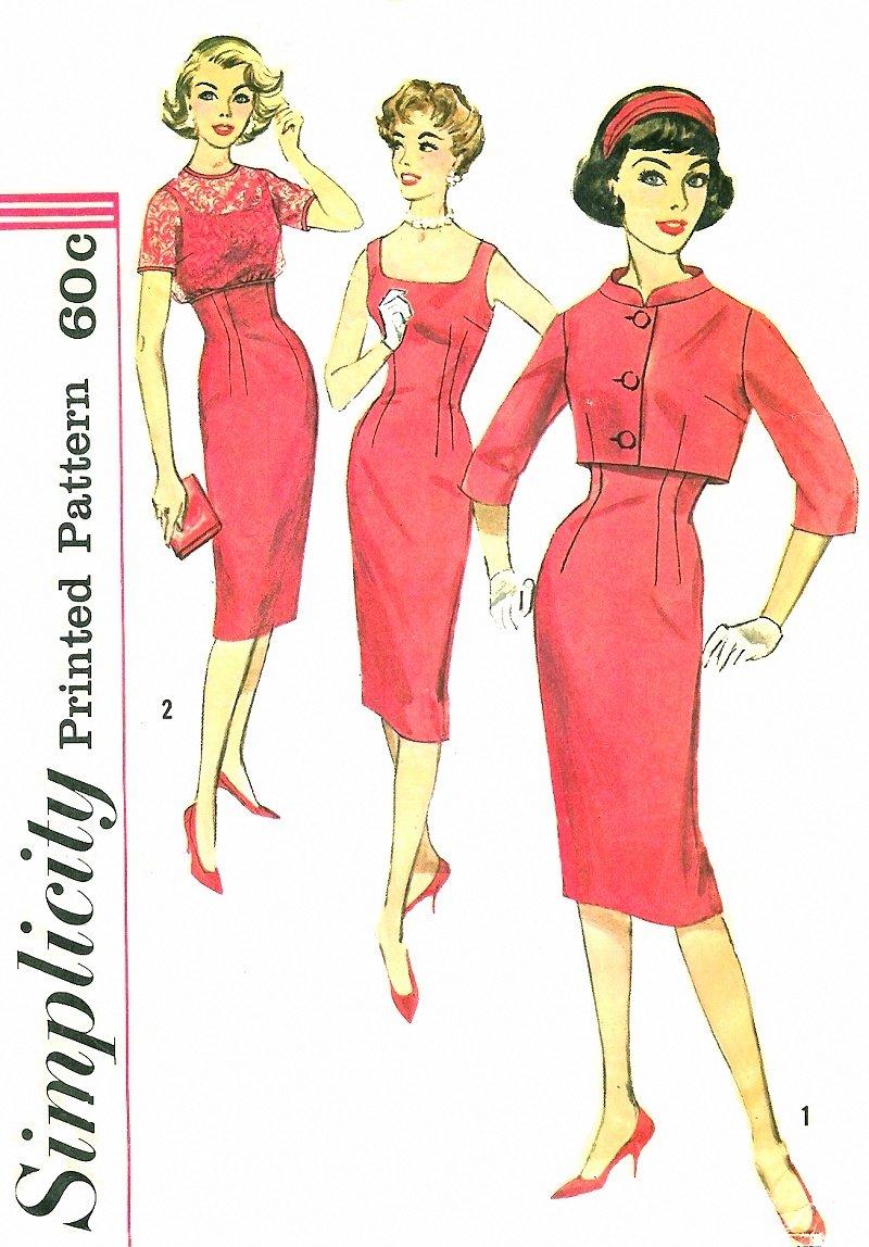 50s sheath dress sewing pattern sz 11 crop bolero jacket
