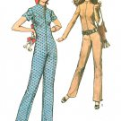 Misses Easy Jumpsuit Sewing Pattern Sz 10 Slim Fit Long Short Sleeve  Hippie Zip Front 1970s 9142