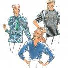 Kwik Sew Pullover Top Sewing Pattern XS-XL V-neck Mock Turtleneck Loose Extended Shoulder 2130