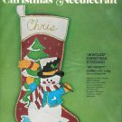 "Bucilla Jeweled Christmas Stocking Kit Mr Frosty Large Felt 23"" 1977 Applique  Holiday Decor"