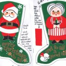 "Mr Mrs Santa Clause Stocking Panels 15"" Vintage 60s Reversible Felt SH Kunin"