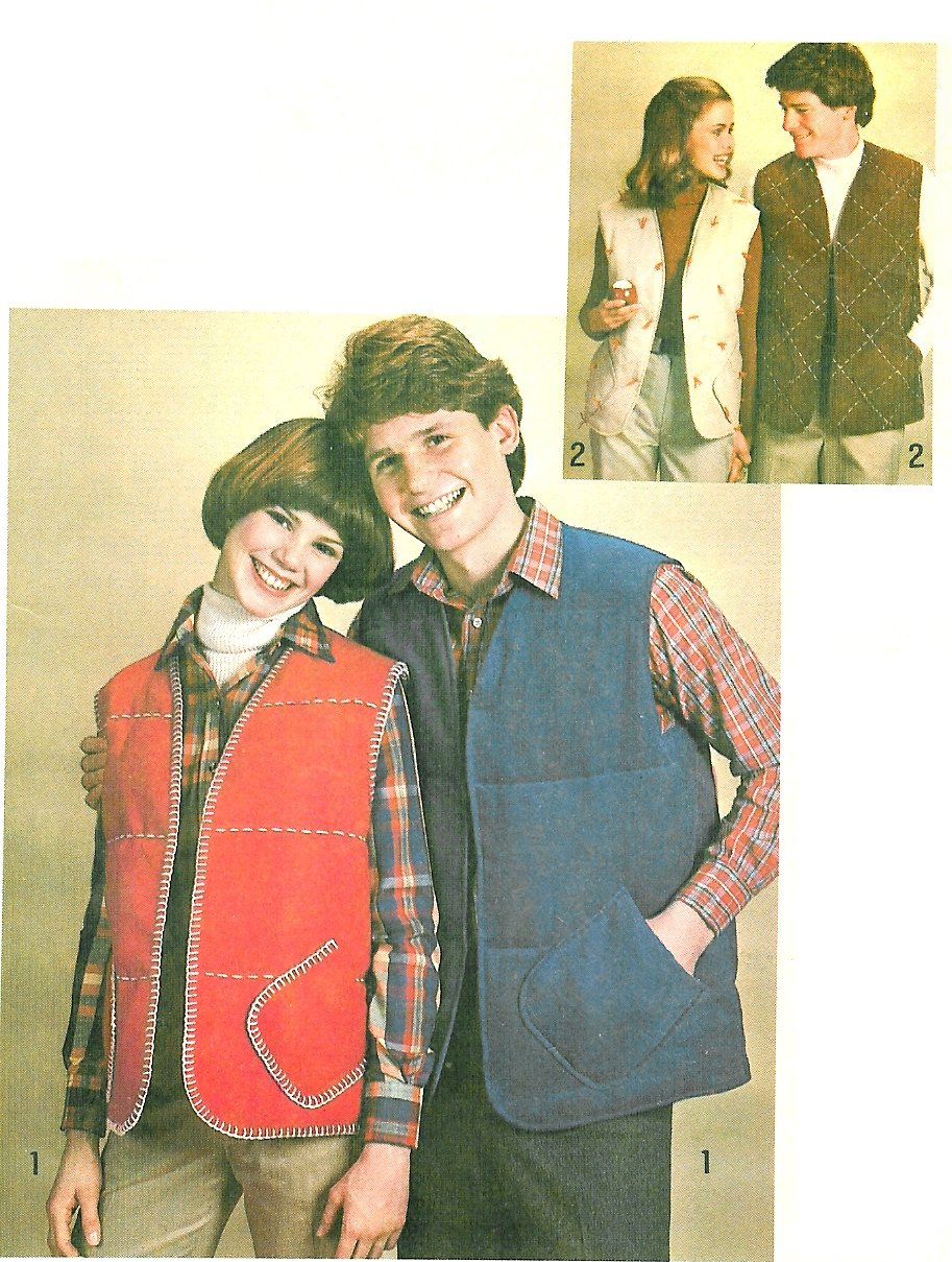 Mens Quilted Vest Sewing Pattern 40 Easy Lined Ski Outdoor Hunting 70s Open Front 8644
