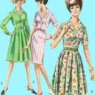 1960s Button Front Dress Sewing Pattern 12 Easy Full Slim Skirt Short Long Sleeve Retro 5877