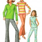 60s Pantsuit Sewing Pattern Sz 12 Mod Cowl Top Long Sleeve Sleeveles Bell Bottom Pants 12