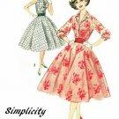 50s One Piece Dress Sewing Pattern Sz 12 Full Circle Skirt Rockabilly Party Cummerbund 2547