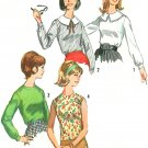 60s Darted Blouse Sewing Pattern Sz 12 Large Collar Round Neckline Long Sleeve Sleeveless Easy 6088