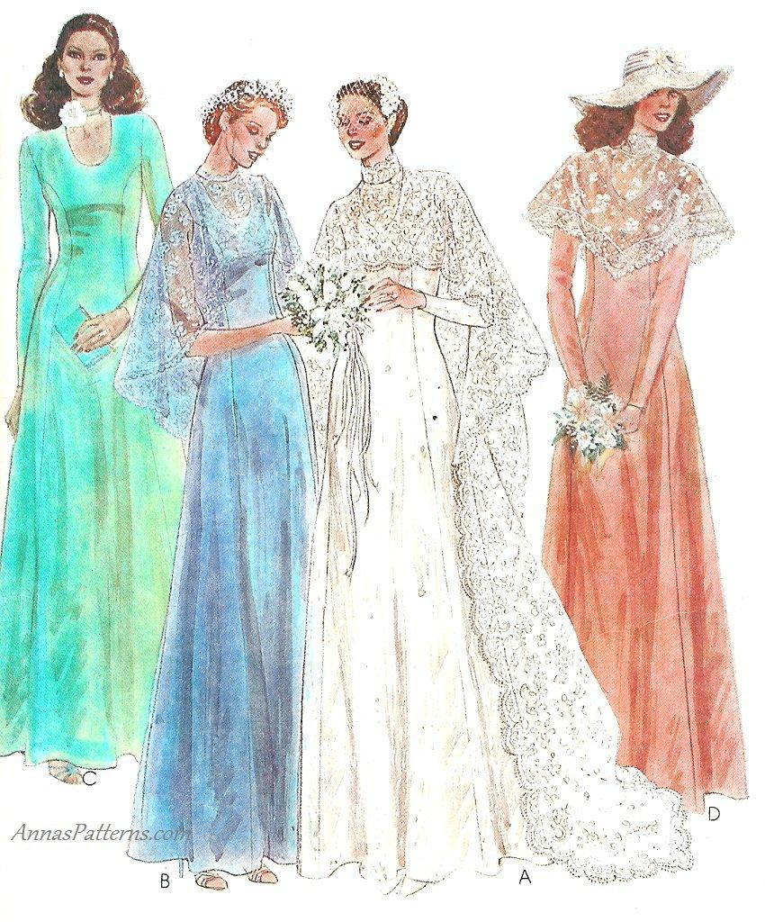 Vintage Wedding Dress Sewing Pattern Sz 8 Bridal Gown 70s
