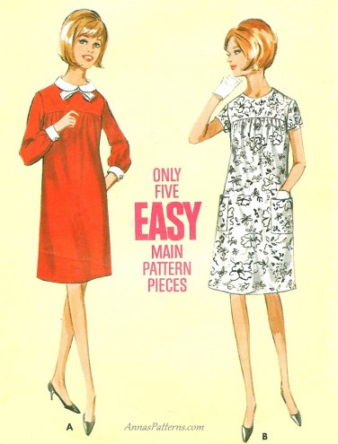 Maternity Dress Sewing Pattern Vintage Sz 10 Knee Length 1960s Peter
