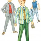 Boys 1960s Dress Suit Sewing Pattern Sz 5 Vintage Collarless Jacket Pants Vest Suspenders 4836