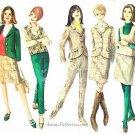 1960s Wardrobe Sewing Pattern Sz 10 Jacket Slim Skirt Slacks Top Vest Retro Mod 6636
