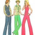 70s Zip Front Halter Jumper Sewing Pattern Sz 10 Jacket Bell Bottom Hippie Clothing 7929