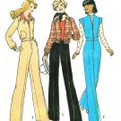 Bell Bottom Pants Jacket Sewing Pattern 70s Sz 14 Retro Mod Pantsuit Cropped Coat Vest 7097