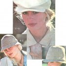 Misses Hats Sewing Pattern 70s Bucket Fedora Newsboy Cabbie Cap Snap Brim Ties 6198