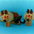 Country Reindeer Pattern Sherpa Shearling Christmas Winter Decor 8 Inch DIY Handcrafted