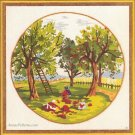 Apple Time Crewel Embroidery Kit Orchard Picking Trees Fruit Family Farm 12 x 12 Stamped Sunset Vtg