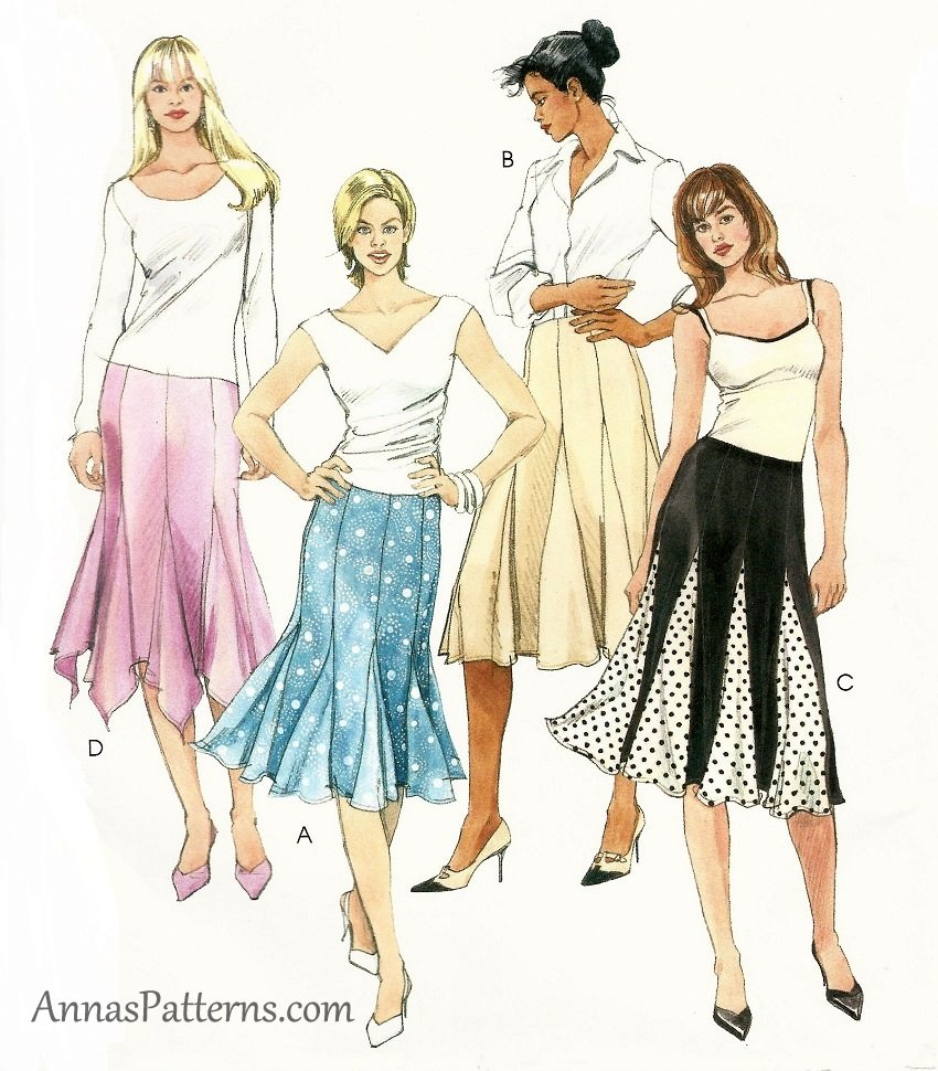 Gored Skirt Sewing Pattern 12-16 Godets Knee Length ...