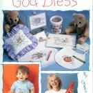 God Bless Charted Cross Stitch Designs Baby Grandpa Grandma Teddy Bear Rabbit Pumpkin