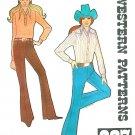 Misses Western Jeans Sewing Pattern Sz 10 Vintage Flair Boot Cut Hip Hugger 237