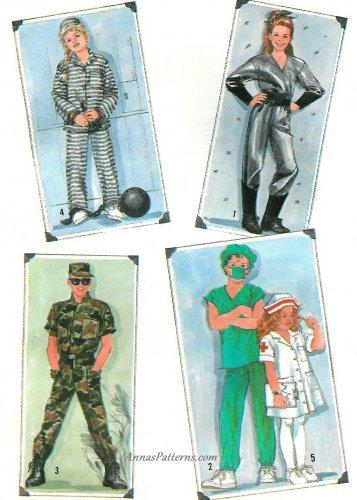 Adult Halloween Costume Sewing Pattern Large Spaceman Prisoner Nurse Soldier Doctor  8890