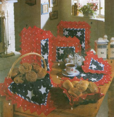Kitchen Linen Sewing Pattern Star Table Place Mat Potholder Napkin Blender Mixer Toaster Cover 7785