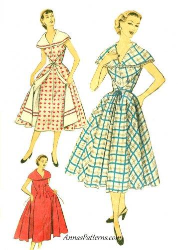 Advance Sewing Pattern Wrap Dress Housecoat Sz 14 16 Overskirt 1950s