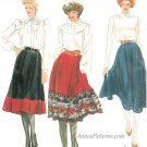 Vintage Vogue Skirt Sewing Pattern Sz 16 Plus Flared A-line Mid Calf Gypsy Boho Pleated 8144