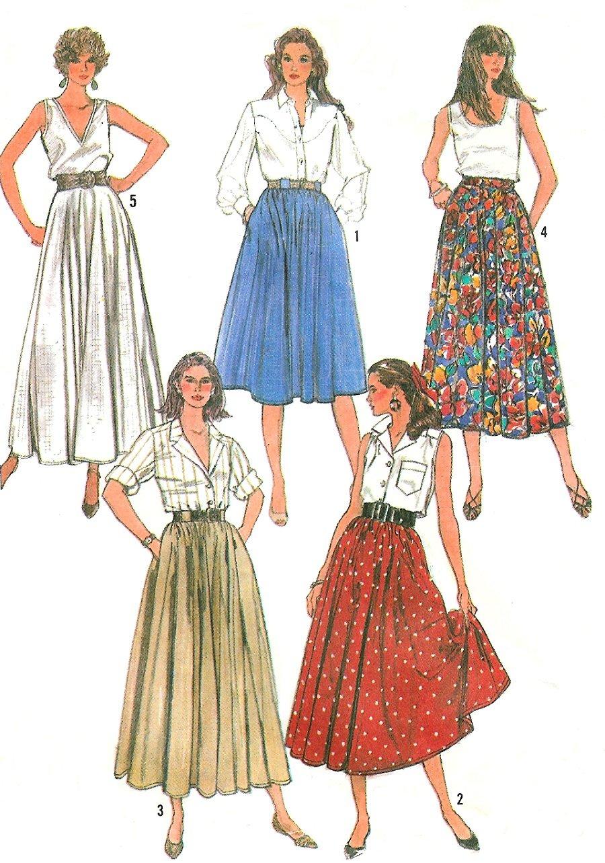 Easy Circle Skirt Sewing Pattern 12 16 Full Gathered Long
