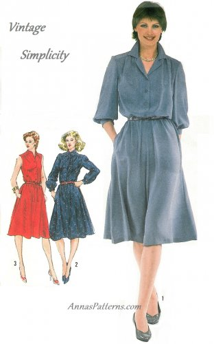 Pullover Shirtdress Dress Sewing Pattern Sz 16 Disco Vintage 80s Button Knee Length 5242