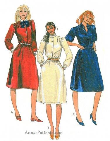 80s Belted Dress Sewing Pattern Disco 12 Button Short Long Sleeve Mandarin Collar Knee Length 7745