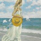 Summer Dreams Embroidery Kit 12 x 16 Needle Treasure Woman On Beach Ocean