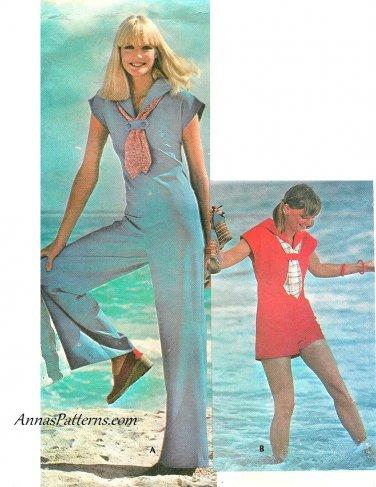 Sailor Jumpsuit Sewing Pattern Sz 12 Shorts Pants Nautical Beach Easy 70s Vintage 4980