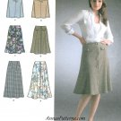 A-line Flared Skirt Sewing Pattern 12-20 Belted Button Front Easy 4086